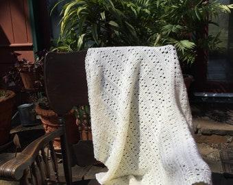 Baby Afghan in Baby Yellow, Yellow Crochet Baby Afghan, Crochet Baby Blanket