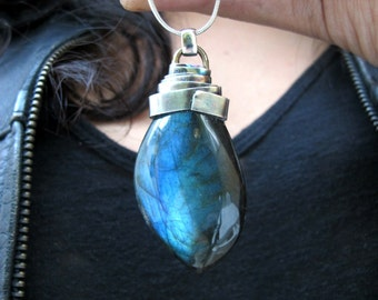Coil- Labradorite, brass and sterling silver pendant.