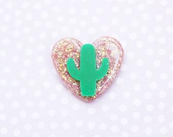 Rose Gold Cactus Heart Brooch