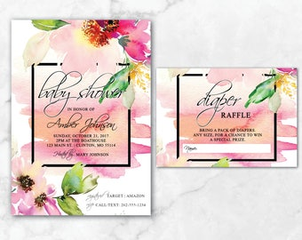 Watercolor Floral Baby Shower Invitations | Baby Shower Invites | Couples Baby Shower | Watercolor | Floral | Water Lilly Invites | Vintage