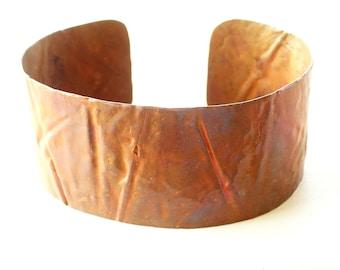 Vintage Wide Copper Cuff, Textured Copper Cuff, Vintage Copper Bracelet, Primitive Copper Cuff, Copper Jewelry, The Copper Cat
