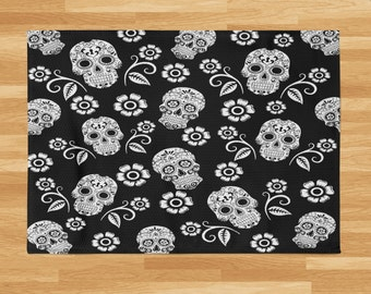 Sugar Skull Rug , Day Of The Dead, Gothic, Black and White , Throw Rugs, Area Rug