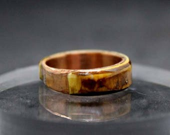 Ring natural wood and copper