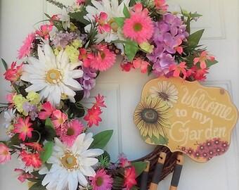 Garden Wreath,Summer Wreath,Everyday Wreath,Front Door Wreath, Wreaths,