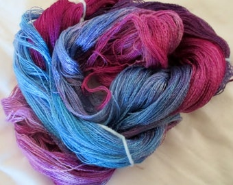Hand dyed Tencel Yarn - 900 yds. Lace Wt. Tencel Yarn  ATLANTIS