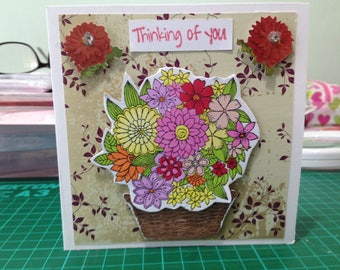 Mother's Day Thinking of You Valentine Flower Bouquet Card