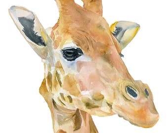 Giraffe Watercolor Painting - 11 x 14 - Giclee Print - African Animal