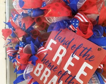 Patriotic deco mesh wreath, Americana front door wreath, Land of the Free Home of the Brave Sign Wreath, military wreath, independence day,