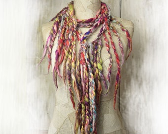 Multicolor fringed extra long fancy scarf, Art Wool bohemian clothing, Festival Scarf, Boho Style Scarves, gift for her, roving scarf fringe