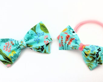 Rifle Paper Co Baby Bow - Amalfi Herb Garden Mint -Floral Hair Bow