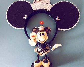 Grayscale Classic Pillbox Minnie Ears