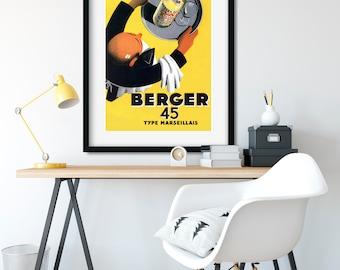 BERGER 45 Vintage Poster Art, French Advertising Art, Vintage Wall Art Prints, Retro Poster, Art Deco Print, Vintage Wine Poster, VAP22.