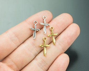 50 Small Crosses Pewter Charms 15x10mm 1334-36321