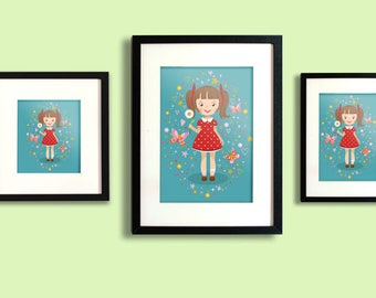 Children, Nursery, and Teenager Bedroom Decor - Girl with Daisies and Butterflies print.