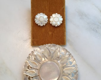Vintage carved mother of pearl brooch and pierced earrings