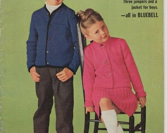 ON SALE ON Sale - Paton's Knitting Pattern No 723 for Girls and  Boys Jumpers and Cardigans  - Vintage 1960s