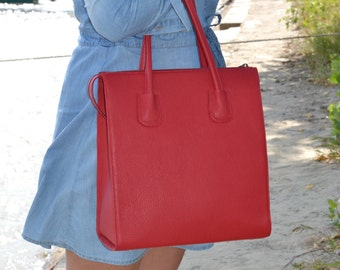 RED LEATHER HANDBAG, Red Leather Bag, Red Leather Tote Bag, Large Leather Tote, Large Leather Handbag, Red Leather Purse
