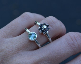 Moissanite Ring, Moissanite, Sterling Silver, Unique Ring, Double Banded Ring, blue moissanite, rose cut ring, daisy ring