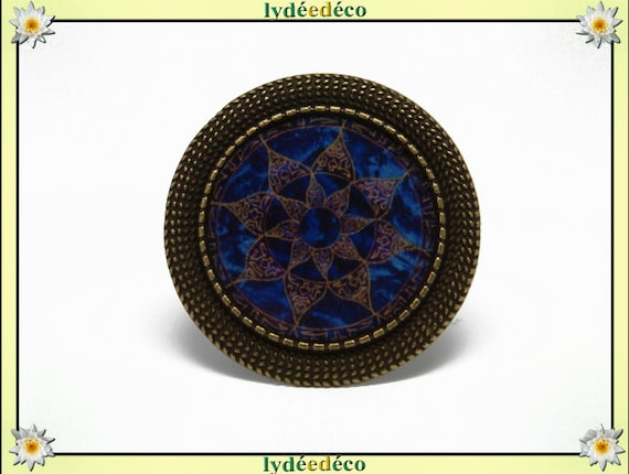 Retro round ring vintage Arabesque blue Brown resin and brass bronze adjustable 20mm diameter