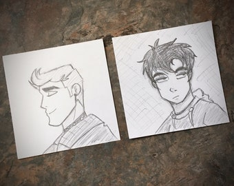 Alternative Guys Doodles - Original Post-It Note Sketches - Set of 2