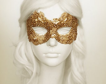 Sequined Gold Masquerade Mask With Rhinestones And Embroidery - Embellished Venetian Style Halloween Mask For Prom, Costume Party, Wedding