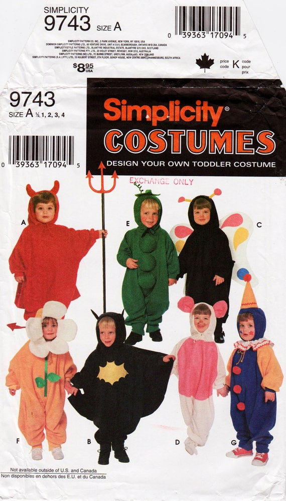 Kids Costume Pattern Toddler Costume Devil Costume Butterfly Costume  SIMPLICITY 9743 UNCUT 1/2-4 yrs Pea Pod Costume Mouse Costume Flower