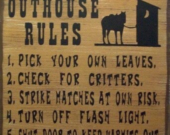 Outhouse Rules Western Primitive Rustic Distressed Country Wood Sign Home Decor