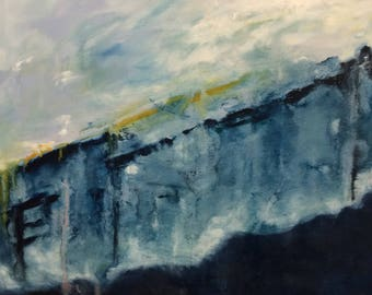Original Abstract Oil Painting in Blue; oil on canvas; 30 inches by 40 inches