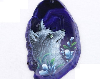 Fox Wolf Dog Pendant Hand Painted on Agate