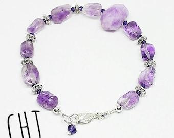 Amethyst bracelet, stone and crystal, Swarovski crystal bracelet, purple crystal bracelet, ready to ship, gifts for women, free shipping