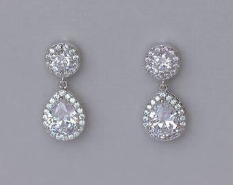 Crystal Teardrop Earrings, Crystal Bridal Earrings, Crystal Bridal Jewelry, Bridesmaids Crystal Earrings, TAMARA 6