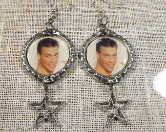 Jean Claude Van Damme Earrings w/ Star Charms 1 Pair Flattened Bottle Cap Style