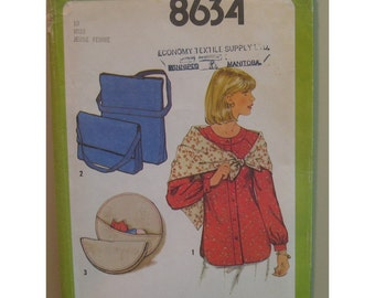 Collar Band Blouse Pattern,  Button Front, Long Sleeves, Messenger Bag, Simplicity No. 8634 UNCUT Size: 10 (Bust 32 1/2, 83cm)