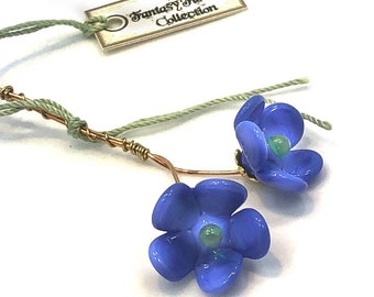 Blue and Green Lampwork Flower Headpin Pair