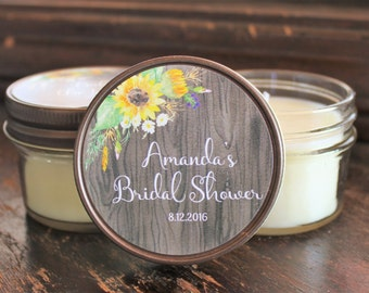 Sunflower Bridal Shower Favor//Set of 12 4 oz. Candle Favors// Fall Wedding Favor//Personalized Wedding Favor//Soy Candle Favors//