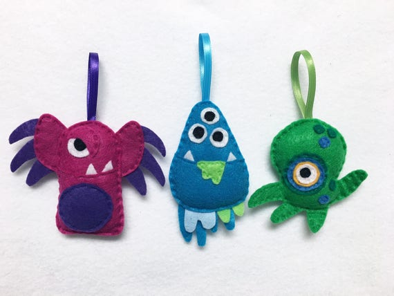 Monster Ornaments, Set of Three Ornaments, Birthday Favors, Party Decoration, Christmas Ornament