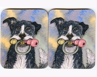 2 x Border Collie dog toy storage coasters ball toys ring from Susan Alison watercolor painting