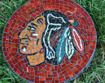 Custom designed sports team stained glass mosaic garden stepping stone