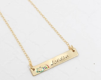 Rainbow Baby Jewelry Necklace, Personalized Bar Necklace Sterling Silver, Hand Stamped Name Plate Necklace for New Mom Friend, Baby Date