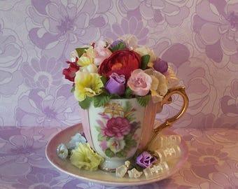 Mini Teacup Floral Arrangement