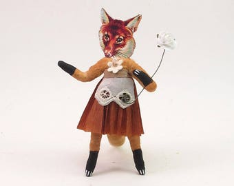 Spun Cotton Vintage Inspired Fox Lady Figure/Ornament (MADE TO ORDER)