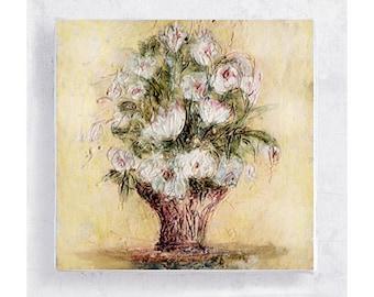 Flower Art - Nature Art - Botanical Print -  Bouquet - Art Block - 5x5 Canvas Print on Wood Frame - Heart Flowers - Wall Art - Home Decor
