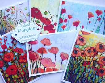 Colorful Poppies - set of Blank Note Cards by Jenlo