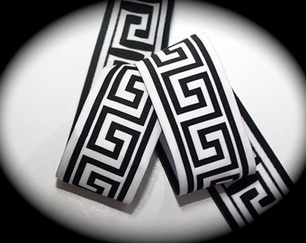 "Woven Jacquard Ribbon Greek Key Trim - 1 7/8"" x 1 yard Black and White"