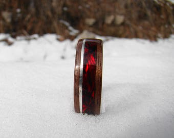 Walnut bentwood ring inlayed with sterling silver and red abalone (mother of pearl)