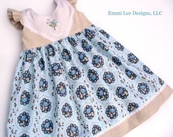 Size 4T Ready to Ship, Girls Easter Dress,Bunnies,Girls Spring Dress,Girls Clothing,Little Girls Dress,Linen,Vintage Embroidery,Blue,Lace