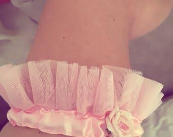 Baby pink tulle satin garter size small rosebud