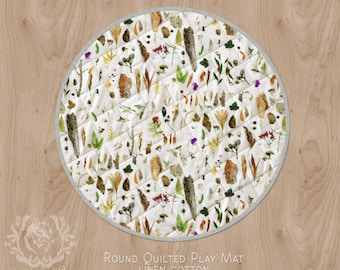 Modern Australiana Baby Play Mat Bushland Botanical/ Round Play Rug, Cot Quilt Circle Rug/ Linen or Organic Cotton. Ships in 2-3 weeks