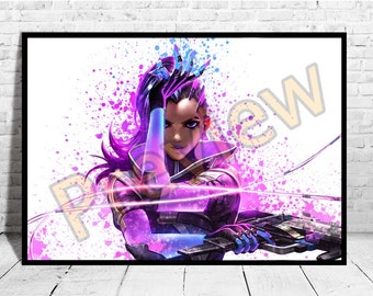 Sombra Art Print, Game Art, Overwatch Sombra, Overwatch Poster,AG124