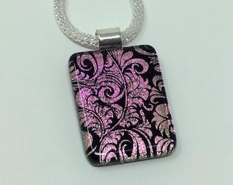 ON SALE - Dichroic Glass Pendant, Fused Glass Jewelry, Pink Black Art Nouveau Dichroic Pendant